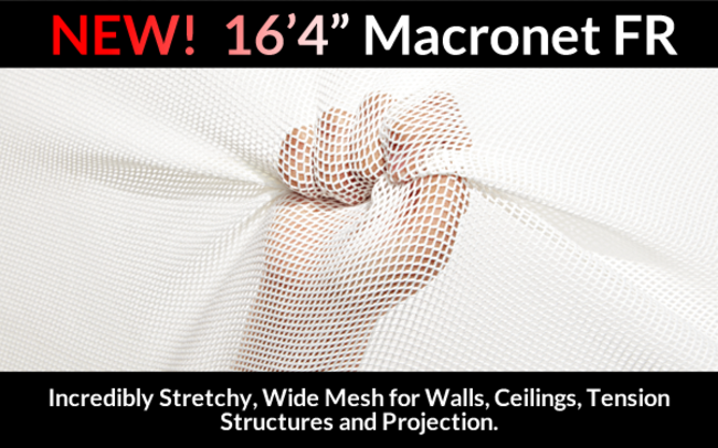 Stretchy, Wide Mesh for Walls, Ceilings, Tension Structures and Projection