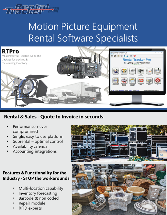 RENTAL TRACKER: Production Equipment Rental Software