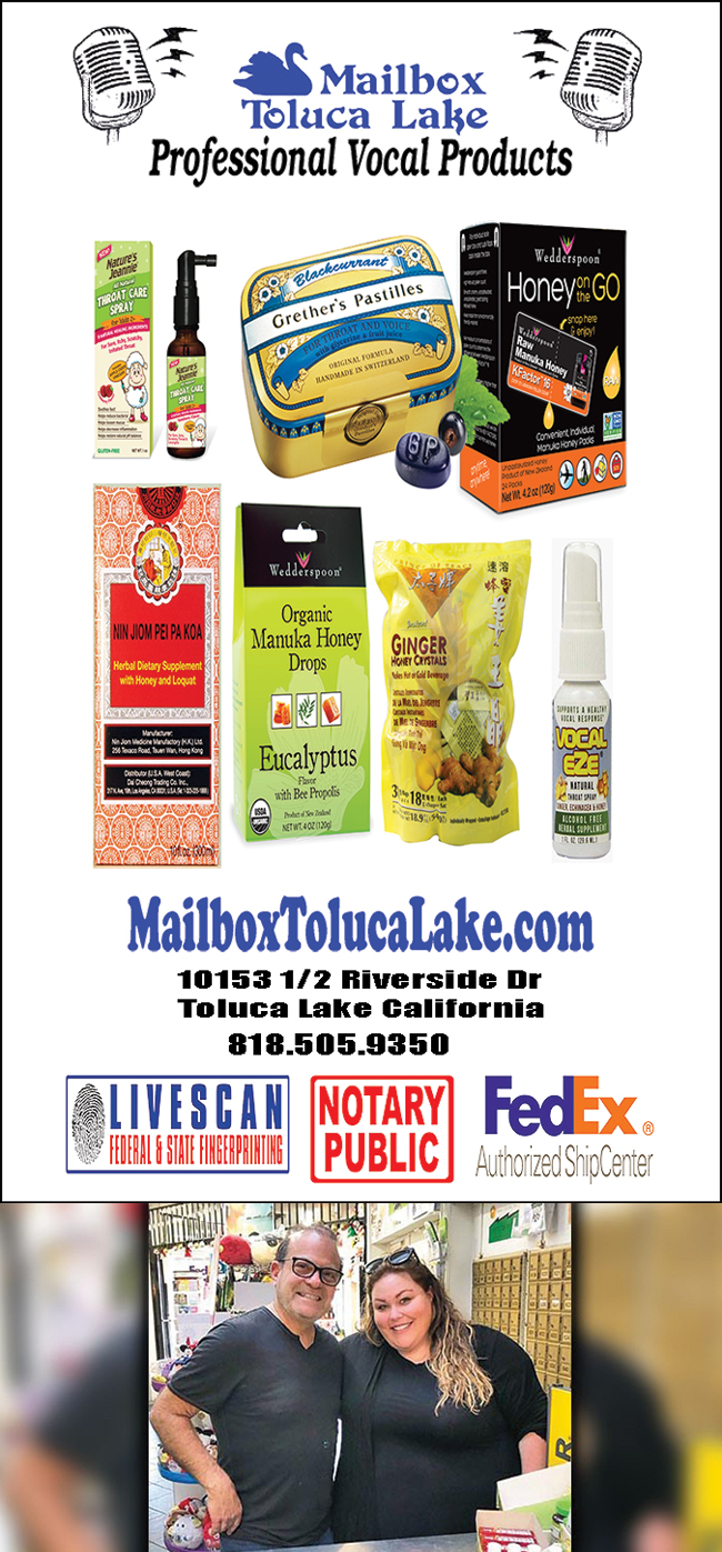 Mailbox Toluca Lake also has throat remedies!