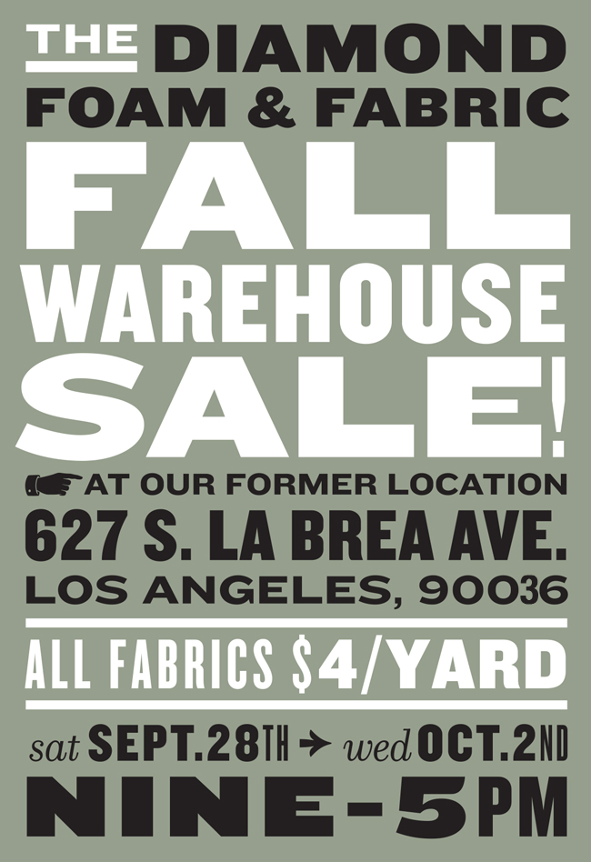 Upcoming Diamond Foam and Fabric Warehouse SALE 9-28-19 to 10-2-19