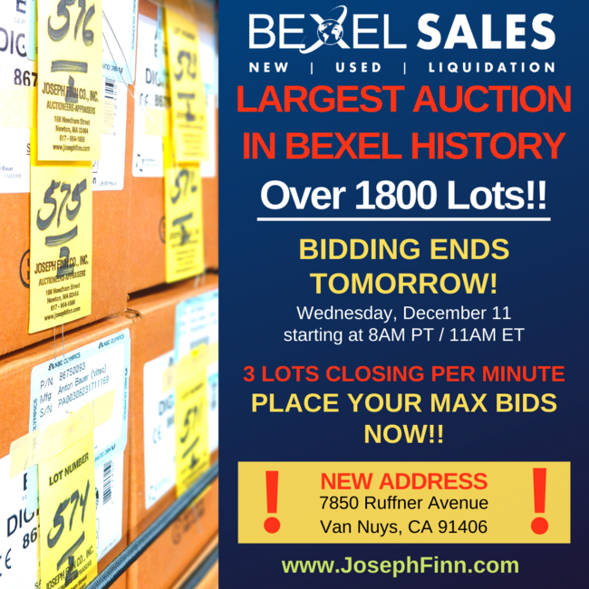 Bexel\'s Largest Auction To-Date Closes December 11, 2019