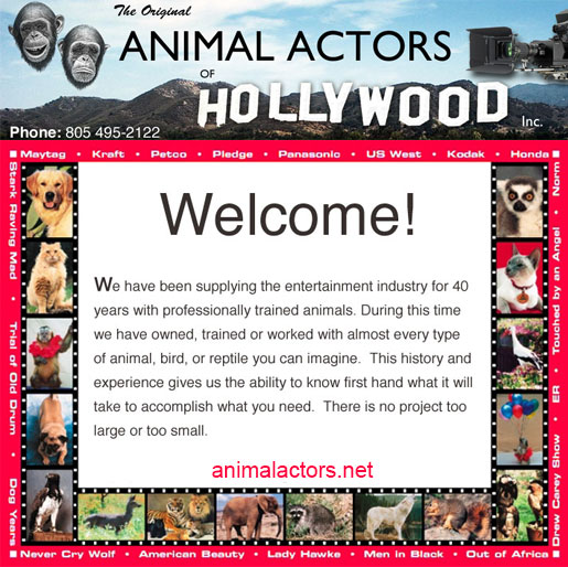 ANIMAL ACTORS<br />OF HOLLYWOOD